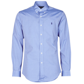 Vêtements Homme Chemises manches longues Polo Ralph Lauren CHEMISE AJUSTEE EN POPLINE DE COTON COL BOUTONNE Bleu