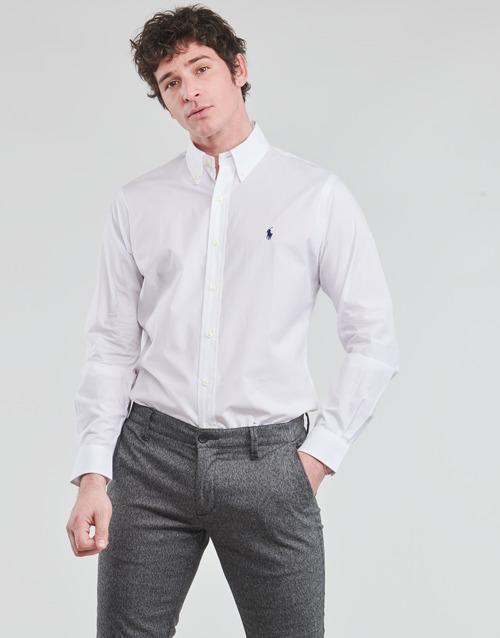 Vêtements Homme Chemises manches longues Polo Ralph Lauren CHEMISE AJUSTEE EN POPLINE DE COTON COL BOUTONNE Blanc