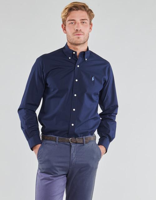 Vêtements Homme Chemises manches longues Polo Ralph Lauren CHEMISE AJUSTEE EN POPLINE DE COTON COL BOUTONNE Marine