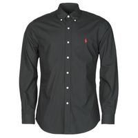 Vêtements Homme Chemises manches longues Polo Ralph Lauren CHEMISE AJUSTEE EN POPLINE DE COTON COL BOUTONNE Noir