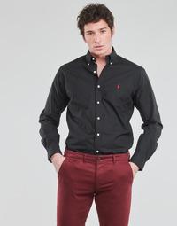 Vêtements Homme Chemises manches longues Chemise Cintree Slim Fit En CHEMISE AJUSTEE EN POPLINE DE COTON COL BOUTONNE Noir