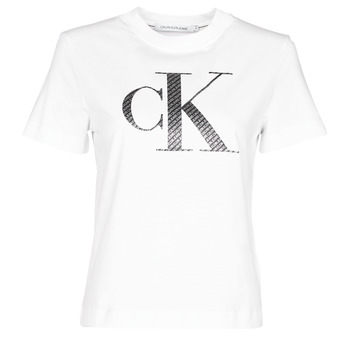 Vêtements Femme T-shirts manches courtes Calvin Klein Jeans SATIN BONDED FILLED CK TEE Blanc