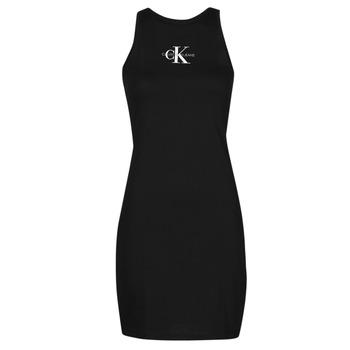 Vêtements Femme Robes courtes Calvin Klein Jeans MONOGRAM TANK DRESS Noir