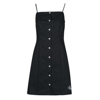 Vêtements Femme Robes courtes Calvin Klein Jeans COTTON TWILL BUTTON DRESS Noir