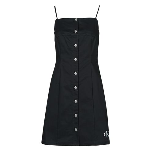 Vêtements Femme Robes courtes Calvin Klein Jeans COTTON TWILL BUTTON DRESS Noir