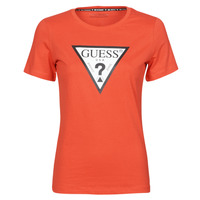 Vêtements Femme T-shirts manches courtes Guess SS CN ORIGINAL TEE Rouge