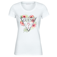 Vêtements Femme T-shirts manches courtes Guess SS CN REBECCA TEE Blanc / Multicolore