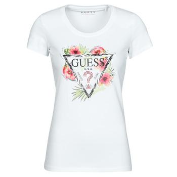 Vêtements Femme T-shirts manches courtes Guess SS CN REBECCA TEE Blanc / Multicolore