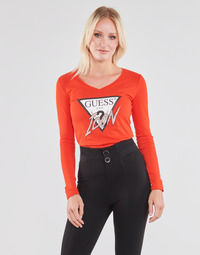 Vêtements Femme T-shirts manches longues Guess LS VN ICON TEE Rouge