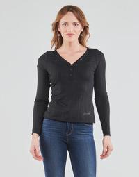 Vêtements Femme T-shirts manches longues Guess LS URSULA TOP Noir