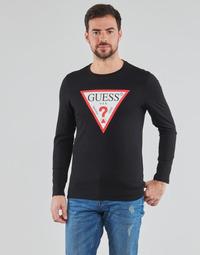 Vêtements Homme T-shirts manches longues Guess CN LS ORIGINAL LOGO TEE Noir