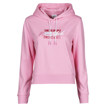 Vêtements Femme Sweats Tommy Jeans TJW CROPPED TOMMY FLAG HOODIE Rose