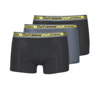 Sous-vêtements Homme Boxers Athena OUTDOOR RECYCLEE X3 Noir / Gris / Noir