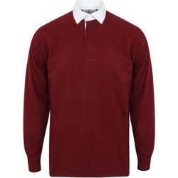 Vêtements Homme Polos manches longues Front Row FR100 Bordeaux/Blanc