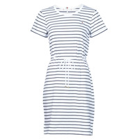 Vêtements Femme Robes courtes Tommy Hilfiger TH COOL STP SHIFT SHORT DRESS SS Blanc / Marine
