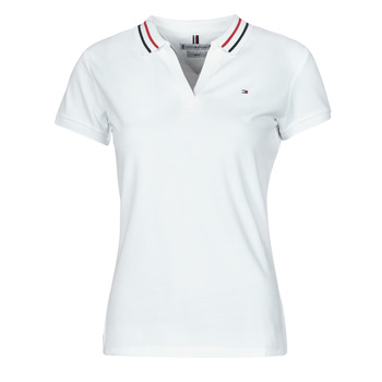 Vêtements Femme Polos manches courtes Tommy Hilfiger SLIM TIPPING POLO SS Blanc