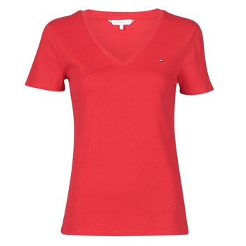 Vêtements Femme T-shirts manches courtes Tommy Hilfiger SP SLIM SOLID V-NK TOP SS Rouge