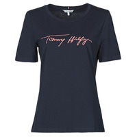 Vêtements Femme T-shirts manches courtes Tommy Hilfiger REGULAR SCRIPT OPEN-NK TEE SS Marine