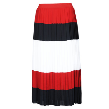 Vêtements Femme Jupes Tommy Hilfiger CREPE PLEATED MIDI SKIRT Marine / Blanc / Rouge