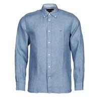 Vêtements Homme Chemises manches longues Tommy Hilfiger PIGMENT DYED LINEN SHIRT Bleu