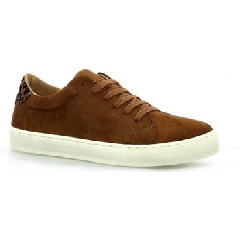 Chaussures Femme Baskets basses So Send Baskets cuir velours Cognac