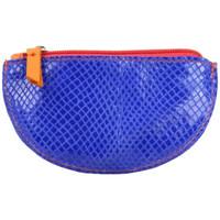 Sacs Femme Porte-monnaie Patrick Blanc Porte monnaie demi rond plat  cuir Orange / Bleu orange