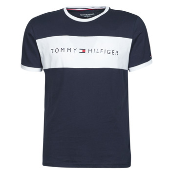 Vêtements Homme T-shirts manches courtes Tommy Hilfiger CN SS TEE LOGO FLAG Marine / Blanc