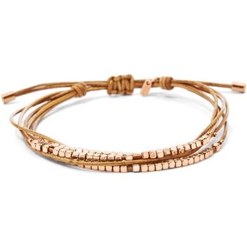 Montres & Bijoux Femme Bracelets Fossil Bracelet  cuir beige perles carrées roses Beige