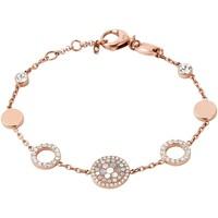 Montres & Bijoux Femme Bracelets Fossil Bracelet  disques acier rose empierrés Rose