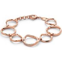 Montres & Bijoux Femme Bracelets Fossil Bracelet  Twist acier rose empierré Rose