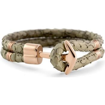 Montres & Bijoux Femme Bracelets Hooked Bracelet  cuir serpent ancre acier rose Gris