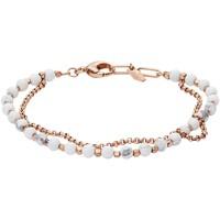 Montres & Bijoux Femme Bracelets Fossil Bracelet  acier rose perles blanches Rose