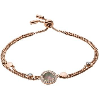 Montres & Bijoux Femme Bracelets Fossil Bracelet  gris nacré et acier rose Rose