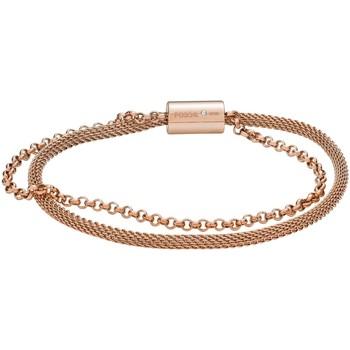Montres & Bijoux Femme Bracelets Fossil Bracelet  double acier rosé Rose