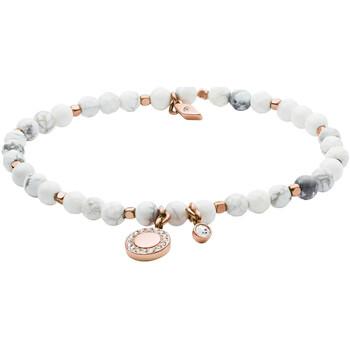 Montres & Bijoux Femme Bracelets Fossil Bracelet  en Howlite blanche marbrée Rose