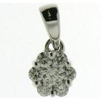 Montres & Bijoux Femme Pendentifs Brillaxis Pendentif  or blanc 18 carats et diamants Forme fleur Blanc