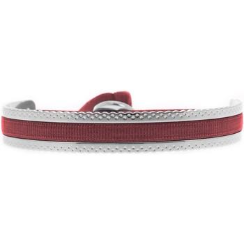 Montres & Bijoux Femme Bracelets Les Interchangeables Jonc Ruban  argenté bordeaux 4 mm point Rouge