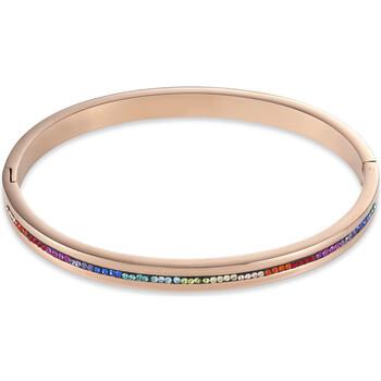Montres & Bijoux Femme Bracelets Coeur De Lion Jonc  acier rose cristaux multicolores Rose