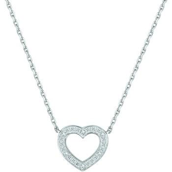 Montres & Bijoux Femme Colliers / Sautoirs Brillaxis Collier  coeur diamants or 9 carats Blanc