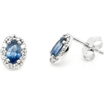 Montres & Bijoux Femme Boucles d'oreilles Brillaxis Boucles d'oreilles  or saphirs diamants Blanc
