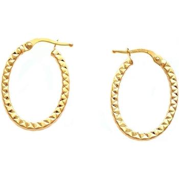 Montres & Bijoux Femme Boucles d'oreilles Brillaxis Créoles  or jaune 9 carats ovales Jaune