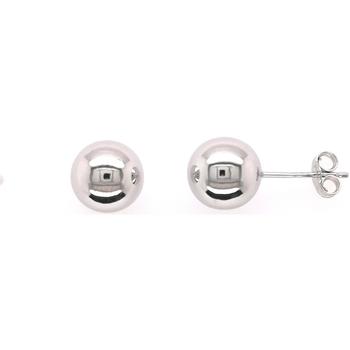Montres & Bijoux Femme Boucles d'oreilles Brillaxis Boucles d'oreilles Boule 8 mm or blanc 18 carats Blanc
