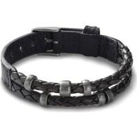 Montres & Bijoux Homme Bracelets Fossil Bracelet homme  tressé cuir noir perlé Noir