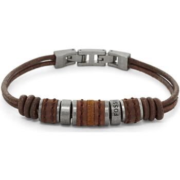 Montres & Bijoux Homme Bracelets Fossil Bracelet homme  cuir marron perles Blanc