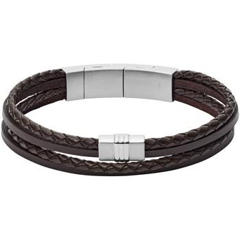Montres & Bijoux Homme Bracelets Fossil Bracelet homme  cuir tressé brun Blanc