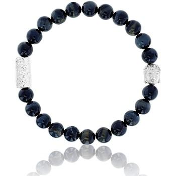 Montres & Bijoux Homme Bracelets Lauren Steven Bracelet  Oeil de Tigre Bleu Buddha 6mm/L Blanc