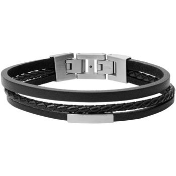 Montres & Bijoux Homme Bracelets Fossil Bracelet homme  triple rang cuir noir Noir