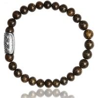 Montres & Bijoux Homme Bracelets Lauren Steven Bracelet  Bronzite 6mm/M Blanc