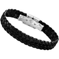 Montres & Bijoux Homme Bracelets Lotus Bracelet  homme cuir tressé noir Noir