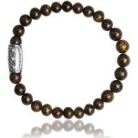 Montres & Bijoux Homme Bracelets Lauren Steven Bracelet  Bronzite 6mm/L Blanc